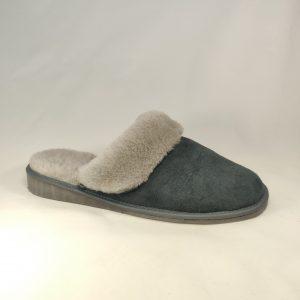 Šiltos pilkos odos kambarinės šlepetės