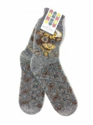 vilnonės kojinės su karvute
