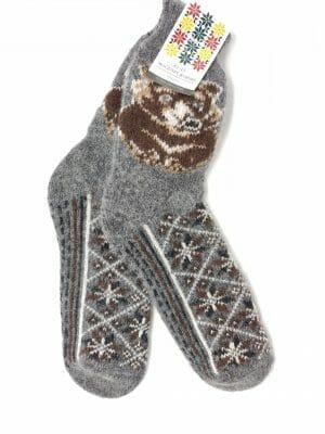 vilnonės kojinės su meška