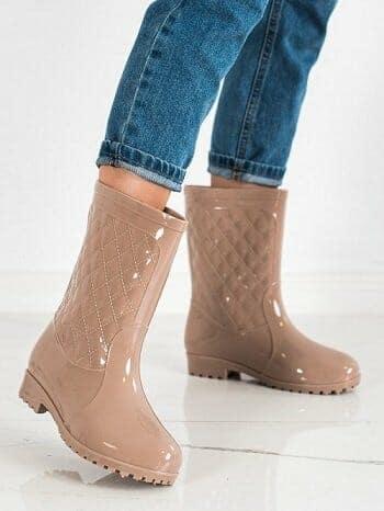 kremines spalvos guminiai batai moterims